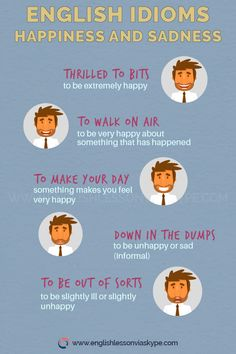 English Idioms about Happiness and Sadness. How to talk about Happiness in English. English Speaking Skills, English Writing Skills, English Vocabulary Words, Learn English Words, English Language Learning, English Vinglish, English Idioms, English Phrases, English Study