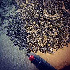 Foliage. Ink on paper. // Richey Beckett
