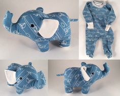 """Sewing Stuffed Animals elephant teddy bear story 2 ~~~ sewing little stuffed animals out of baby's onsies pj's - Artists and crafty moms are turning old baby clothes into keepsake """"memory bears"""" that can be cherished by parents and kids for years to come. Elephant Stuffed Animal, Sewing Stuffed Animals, Baby Elephant, Stuffed Animal Diy, Elephant Baby Clothes, Elephant Clothing, Elephant Fabric, Elephant Pattern, Old Baby Clothes"""