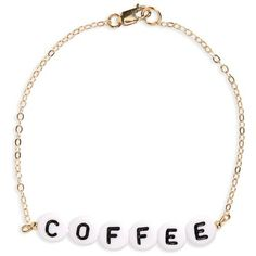 Women's Ryan Porter Coffee Chain Bracelet (€39) ❤ liked on Polyvore featuring jewelry, bracelets, gold, gold jewellery, beads jewellery, yellow gold jewelry, gold chain jewelry and coffee jewelry