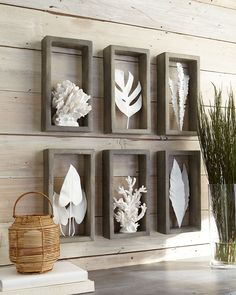 :) Add awesome white sculptures I can make my own shadow boxes for the porch wall much cheaper!Coral+&+Leaf+Shadowbox+Sculptures+at+Horchow.
