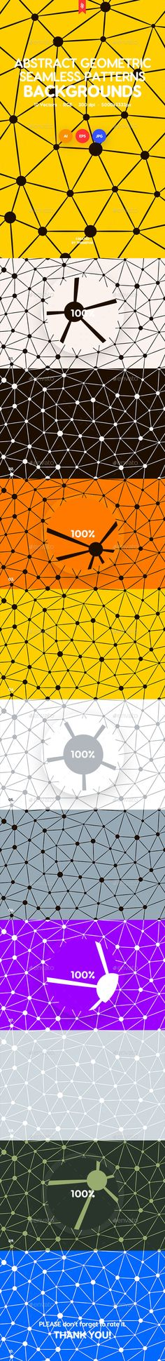 Geometric Seamless Patterns with Connected Lines and Dots Backgrounds - #Patterns #Backgrounds