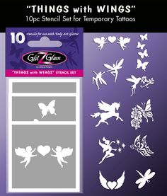 Things with Wings Tattoo Stencil Set for Glitter Tattoos / Kids Tattoos. Includes the following Glitter Tattoo Stencils: Cascading Butterflies, Pegasus, Hummingbird, Two Dancing Fairies, Angles Heart, Winged Heart, Butterfly Flower Vine, Spring Butterfly, Fairy and Dragonfly