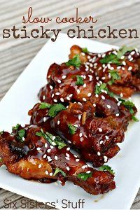 Sticky Chicken Wings-The sauce is made with honey, brown sugar, balsamic vinegar, soy sauce, and sriracha. This slow cooker sticky chicken is finger-licking good