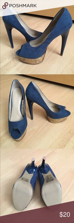 Blue Faux Suede Platform Peep Toe Pumps Brand new in box. Are pretty and are