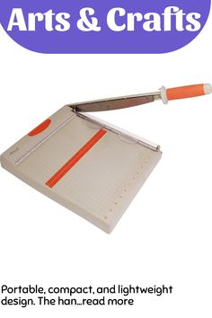 Portable, compact, and lightweight design. The handle and measuring arm paper guide are stored underneath the main body of the base when not in use. The Kushgrip comfort handle features a stainless steel blade for a clean, straight cut. A paper clamp with integrated finger guard presses down firmly to ensure paper does not move while cutting. Attachable measuring arm paper guide allows accurat...