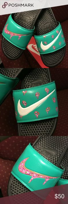 Custom nike slides Hand painted and brand-new trying o raise money for my first art shoe so the price is firm. Order to size and I will ship exactly what you ask for. I can do any custom order dose not have to be this style Nike Shoes Sandals & Flip-Flops