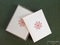 Hand Embroidered Red Snowflake Christmas Card