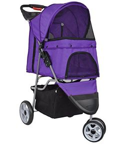 Dog Strollers - VIVO Three Wheel Pet Stroller for Cat Dog and More Foldable Carrier Strolling Cart Multiple Colors Purple >>> Check out this great product. (This is an Amazon affiliate link)