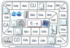 Juego de la oca para leer sílabas directas e inversas con ca-co-cu