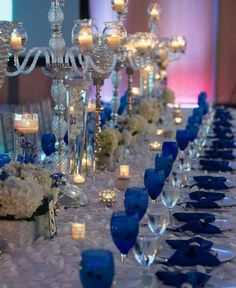 Royal Blue Tables With Pops Of Gold And Silver Featuring