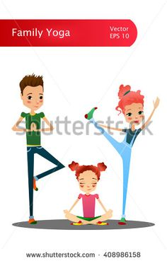 Cute Isolated Vector Cartoon Family Yoga Illustration with Cartoon Family Characters Like Mother, Father and Daughter Doing Yoga Asanas, Suitable for Book or Yoga Place Illustrating and Web Designing http://www.shutterstock.com/g/Ruslana+Moroz?rid=2664289