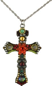 The cross is 2″ in length, 1.5″ in width. The chain is adjustable 18-22″