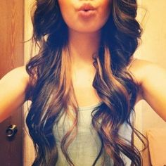 peekaboo highlights on long dark hair Women Hairstyles