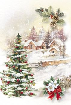 christmas images Christmas Tree and Snow Village Christmas Scenes, Christmas Art, Christmas Greetings, Winter Christmas, Christmas Wreaths, Christmas Decorations, Christmas Ornaments, Birthday Greetings, Birthday Cards