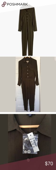 """Madewell Pull-On Jumpsuit Long Sleeves Sz S Brown A menswear-inspired jumpsuit with feminine tailoring. Lightweight and drapey, this one is definitely a day-to-night gem.   Fitted through hip and thigh, with a slim leg. Front rise: 11 1/2"""". Inseam: 27"""". Leg opening for size XS: 13"""". 100% viscose. Dry clean. Import.   Approximate measurements: Shoulder to shoulder: 16.25"""" Underarm to underarm: 20"""" Sleeve: 23.5"""" Madewell Other"""