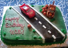 """Google Image Result for http://cakepicturegallery.com/d/13649-2/Disney%2BCars%2Bbirthday%2Bcake.JPG    Getting this one as a FULL SHEET cake for Giovanni and Serenity.  We are going to buy some extra cars to put on the cake, since Baby girl is pretty much a tom boy thus far.  Not sure if this will end up being the exact layout they use, but this is the """"cars theme pack"""" we purchased."""