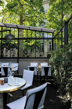 The Terrace at La Gare Restaurant in Paris by Parisian Architect Laura Gonzalez