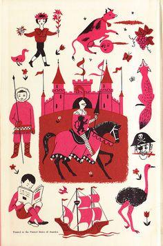 Lovely illustration from Best In Children's Books 1958 - Endpaper - by Matt Hinrichs Vintage Children's Books, Vintage Art, Sketch Painting, Children's Book Illustration, Vintage Prints, Book Design, Cover Art, Childrens Books, Book Art