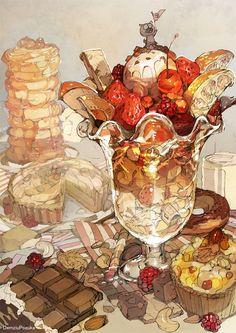 Cute Food Art, Cute Art, Food Illustrations, Illustration Art, Food Drawing, Pretty Art, Aesthetic Art, Art Inspo, Amazing Art