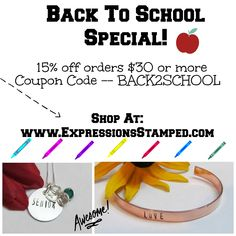 Back to School; Deals; Class jewelry; Personalized jewelry; Hand Stamped Jewelry; Necklaces; key chains; cuff bracelets; bangles