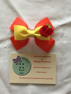 Apple jack inspired hair bow from my little pony designed by me
