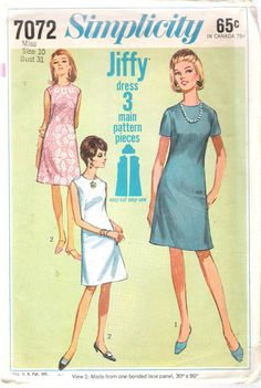Vintage 1967 Simplicity 7072 One Piece A-Line Dress Sewing