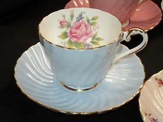 AYNSLEY BLUE ROSE GOLD SWIRL TWIRL TEXTURE TEA CUP AND SAUCER
