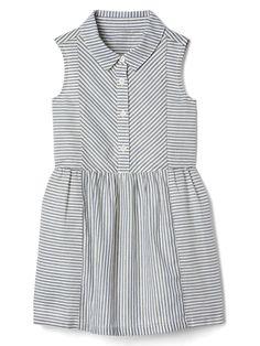 Shimmer stripe sleeveless shirtdress | Gap