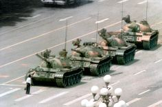 Tiananmen square protest - tank man stood for Chinese democracy.