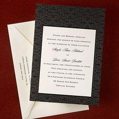 Elegant black fleur de lis designs frame your ecru colored invitation