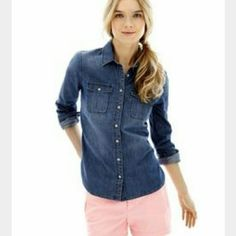 NWOT JCP chambray button up Never worn, would look cute with leggings and boots! jcpenney Tops Button Down Shirts
