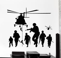 Vinyl Wall Decal Soldiers Patriot War Warrior Helicopter Stickers (1250Ig)