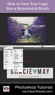 How to Turn Your Logo Into a Watermark Brush - Photoshop Tutorial on I Heart Faces Photography Blog