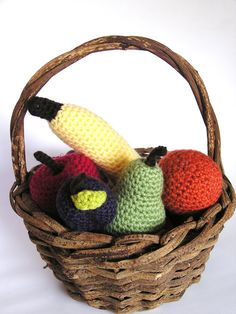 Stuffed Waldorf Toy - Farmers Market - FRESH FRUIT- Crochet Pretend Kitchen Play Food-