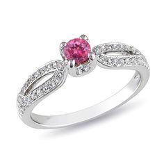 1/2 CT. T.W. Enhanced Pink and White Diamond Split Shank Engagement Ring in 14K White Gold