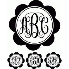 Silhouette Design Store: monogram script flower circle