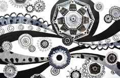 Original Abstract Collage by Susanne Mcginnis White Art, Black And White, Spiral Shape, Wheel Of Fortune, Fine Art Paper, Saatchi Art, Collage, Art Prints, Abstract