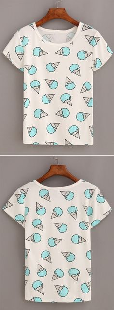 Ice Cream Print T-shirt - White