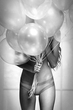 Black, grey, white photography. Very simple yet very cute and fun! Balloons and lingerie.