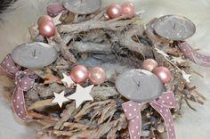 Adventskranz - Adventskranz Weihnachten Vintage Landhaus rosa - ein Designerstück von majalino bei DaWanda