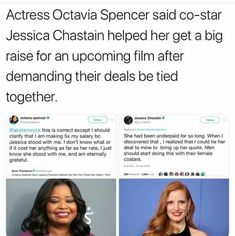 Jessica Chastain demands Octavia Spencer be paid equally to her. Why don't more men do this for their female counterparts? Cultura General, Faith In Humanity Restored, Intersectional Feminism, Equal Rights, Social Issues, Social Justice, Good People, In This World, Equality