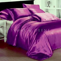 Your own comforter/quilt/duvet must be inserted inside this cover. Slip into luxury with this beautiful satin quilt cover from Ivory & Deene. Included is a quilt cover and 2 matching pillowcases. Satin Bedding, Purple Bedding, Luxury Bedding, Linen Bedding, Bed Linen, Bedding Sets, Royal Purple Bedrooms, Royal Bed, Bed Lights