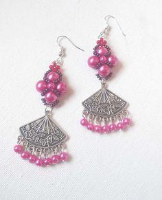 Long earrings for women, chandelier earrings, earrings for women, beaded earrings, long earrings fashion, earrings, German silver earrings, by FusionCraftJewelry on Etsy