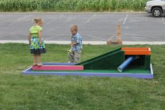 Homemade golf course to keep the kids busy.
