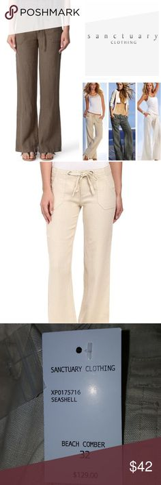 Sanctuary Beach Comber Linen Pants Sanctuary Beach Comber Linen Pants  100% Linen  Color:. Seashell  Size: 32  New with tags Sanctuary Pants