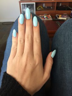 New nails - almond shape with baby blue shellac