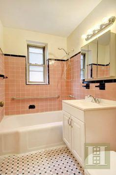 Pink Bathroom I Love The Tile With Black Trim Tiles