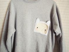 Cozy Adventure Time Sweater with Finn Pocket!!!!! Buy me this and ill marry you