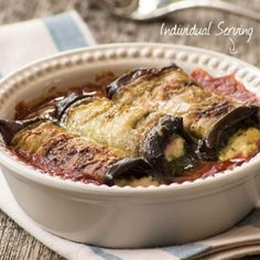 These stuffed sliced eggplant rolls are utterly delectable. One of our very best recipes and ideal for a vegetarian meal. Serve the Eggplant Involtini with crusty bread and a salad. Vegetable Dishes, Vegetable Recipes, Eggplant Rolls, Eating Vegetables, Veggies, Best Vegetarian Recipes, Vegetarian Meals, Eggplant Dishes, South African Recipes